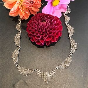 Antique Jewelry - Antique sterling silver marcasite necklace boho